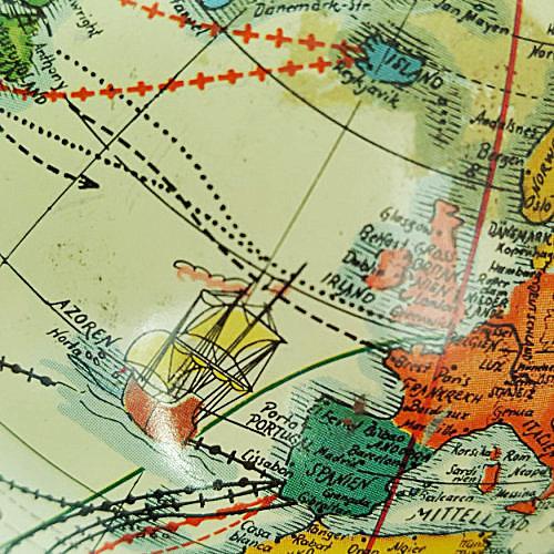 buntgezeichneter Bildausschnitt von einem alten Globus