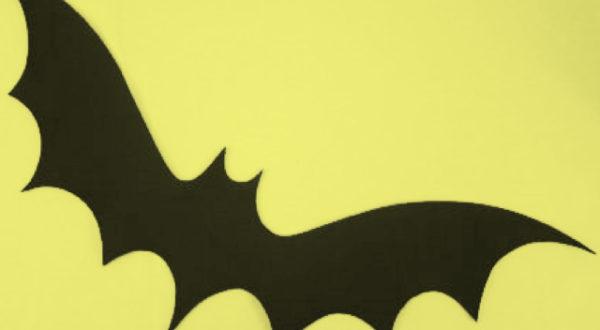 Eine stilisierte schwarze Fledermaus vor hellgelbem Untergrund.