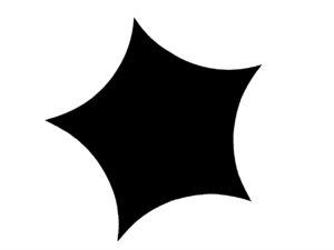 Silhouette eines Pentagramms mit nach innen geschwungenen Seitenrändern.