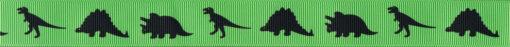 3 verschiedene, schwarte Dinosaurier auf grünem Ripsband.