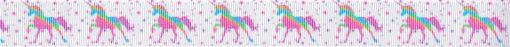 Zartfarbige Einhörner auf zart gepunktetem hellrosa Ripsband.