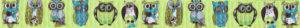 Verschiedenartig gezeichnete Eulen in blau-grün-weiß-schwarz auf hellgrünem Ripsband.