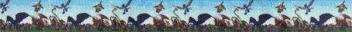 Wiese und blauer Himmel: Verschiedene menschenähnliche Lebewesen und Flugsaurier tummeln sich auf der Wiese und in der Luft.