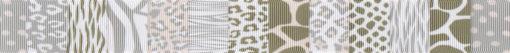 In der Querrichtung zur Bandlänge nebeneinandergereiht verschiedene, fellartige Muster in hellen Braun- und Grautönen auf weißem Untergrund.