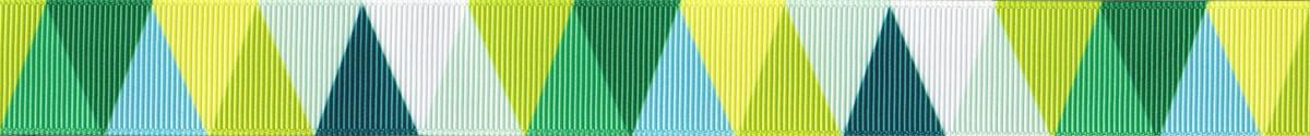 Ripsband mit dicht aneinandergestoßenden gleichschenkeligen, verschiedenfarbigen Dreiecken: Weiß, hellblau, mittelblau, gelb, hellgrün dunkelgrün und blaugrün. Durch die genannte Anordnung zeigen die Spitzen der Dreiecke abwechselnd nach oben und nach unten.