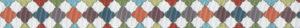 Verschiedenfarbige, aufgestellte Quadrate mit geschwungen gestalteten Umrissen, mosaikartig aneinander gereiht - an alte Fliesenmuster erinnernd.