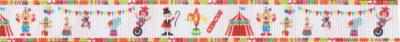 Zirkuszelt, Zirkusakrobaten und -tiere: bunte Abbildungen auf weißem Ripsbandhintergrund.