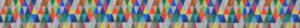 Ripsband mit in 5 Reihen übereinander gestellten kleinen, bunten Dreiecken.