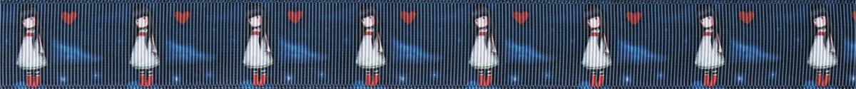 Ripsband mit kleinen Mädchen (rote Strümpfe, weißes Kleid, dunkles, langes Haar) und roten Herzen auf dunkelblauem Untergrund.