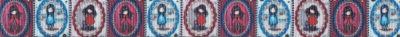 Ripsband in verspielt romantischem Stil: 3 verschiedene Mädchen in 3 verschiedenfarbigen, rüschenumrandeten Medaillons.