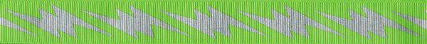 Silberfarbige Blitze auf hellgrünem Ripsband-Untergrund.