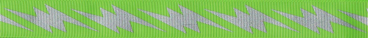 Silberfarbige Blitze auf hellgrünem Ripsband.