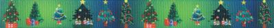 Verschiedenbreite und verschieden geschmückte Weihnachtsbäume auf grünblauem Ripsband.