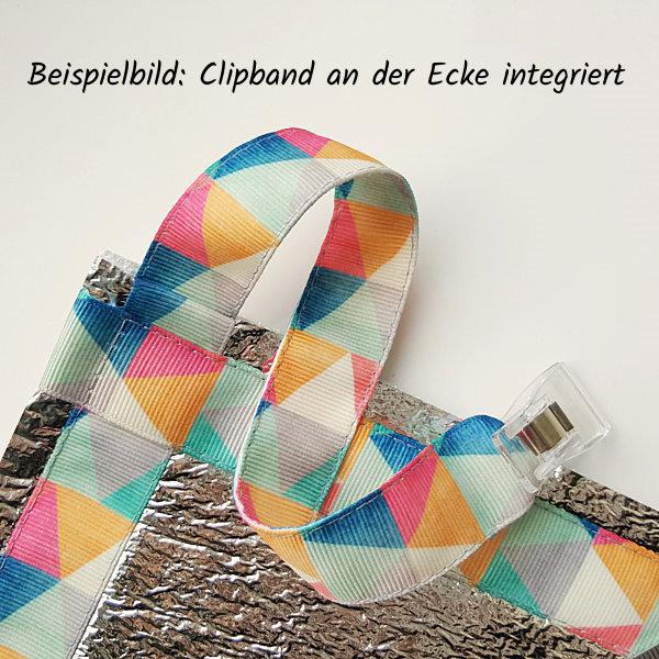 Teilansicht Sitzmatte mit an der Ecke angenähtem Clipband. Motiv geometrisch und dezent.bunt.