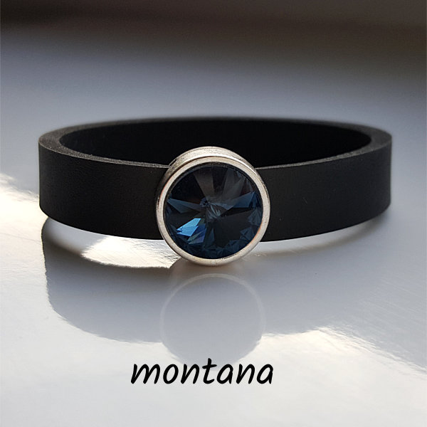 Armband aus Neopren mit dunkelblauem Glaselement in Schiebeperle Zamak versilbert.