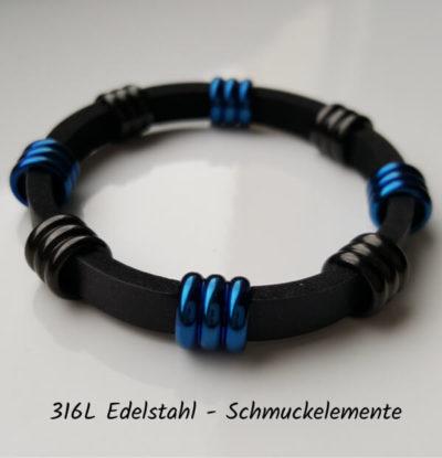 Vollansicht eines Neoprenarmbandes mit zylindrischen, 3-rippigen, abwechselnd braunschwarzen und strahlend blauen Edelstahlelementen.