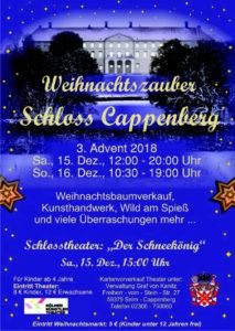 Plakat zum Weihnachtsmarkt auf Schloss Cappenberg am 15. und 16. Dezember 2018
