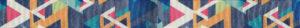 Ripsband für VILU-Sitzunterlage. Design: vollflächig vielfarbig, rein geradlinig geometrische Formen. Hauptfarbtöne: blau, orange, weiß und pink.