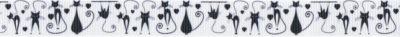Schwarze Katzen in verschiedenen Posen in einer Art gezeichnetem Stil, auf weißem Ripsband.
