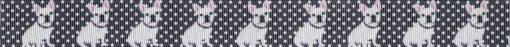 Ripsbandmotiv: 9 Wiederholungen eines Boston Terriers vor weiß gepunktetem scharzen Hintergrund.