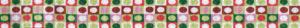 Verschiedenfarbige kleine Ovale in verschiedenfarbigen kleinen Kästchen in 4 Reihen übereinander. Nach 3 Farbstellungen wiederholt sich das Motiv in der Längsrichtung jeweils.