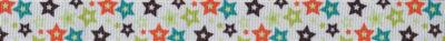 Kleine, bunte, 5-zackige Sterne mit jeweils weißem Innenstern auf weißem Ripsband-Untergrund.