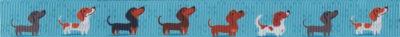 Ripsbandmotiv: Verschiedenfarbige Dackeln, 8 an der Zahl, vor blauem Hintergrund.