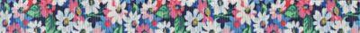 Motivdruck Frühlingsblumen, dicht aneinander gedrängt in den Farbtönen weiß, blau und pink.