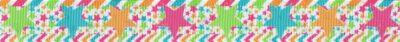 Große pastellfarbene, 5-zackige Sterne in hellgrün, mit, ocker und pink auf Sternen- und Streifenhintergrund.n