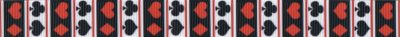 Ripsbandmotiv quergestreift, dabei auf den weißen Feldern in schwarz Kreuz und Pik, auf den schwarzen Feldern in rot Herz und Karo.