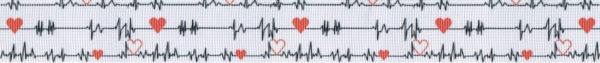 Elektrokardiogramm (EKG) mit auf allen drei Linien zusätzlich eingezeichneten roten Herzen