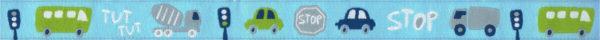 Webband-Motiv: Ein blaues und ein grünes Auto, Verkehrsampeln und kleine Texte zum Verkehr auf hellblauem Untergrund.