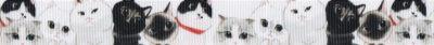 Auf weißem Ripsband zart gezeichnete, dicht nebeneinander sitzende, verschiedenfarbige Katzen.