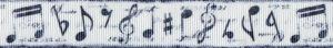 Ripsband mit verschiedene dunkelgrauen musikalischen Zeichen auf weißem Untergrund.