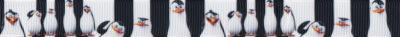 Verschieden große und dicke Pinguine dicht nebeneinander auf abwechselnd schwarzem und weißem Hintergrund, jeweils in Verlängerung zu den Figuren gestaltet.