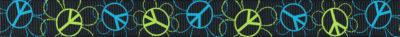 Ripsband mit dem Peace-Zeichen in hellgrün und blau auf schwarzem Untergrund.