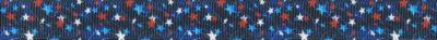 Motiv: Weiße, rote und hellblaue kleine Sterne auf dunkelblauem Ripsband-Untergrund.