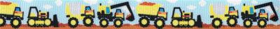 Kinderripsband: Bunte Baufahrzeuge fahren von links nach rechts.