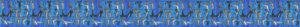 In 3 Reihen in Strichzeichnung-Art dargestellte kleinste Hunde- und Hundeköpfe, dicht nebeneinander gedrängt auf blaugetöntem Ripsbanduntergrund.