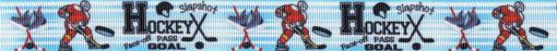Eishockeyspieler in Aktion, Eishockey-Equipment und Eishockeytexte auf hellblau-weiß gestreiftem Ripsbanduntergrund.