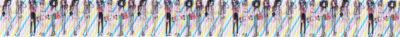 Etwas verschwommen zu sehen: Eng nebeneinander stehende, sehr schlank gezeichnete Mädchen auf bunt schraffiertem Ripsbanduntergrund.