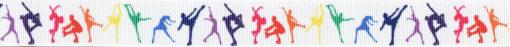 Verschiedenfarbige, in Gymnastikfiguren verharrende Figuren auf weißem Ripsbandhintergrund.