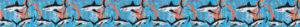Seetangähnlich geformte korallfarbene Farbeinschüsse umgeben kleine Haie auf blauem Hintergrund.
