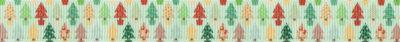 In zwei Reihen übereinander kleine, pastellfarbene Weihnachtsbäume auf hellgrünem Ripsbanduntergrund.