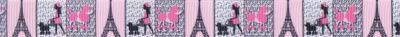 In rosa und grau-weiß gehaltene hochgestellt Felder mit den 3 Motiven Eiffelturm, Pudel und Madame mit ihrem Pudel.