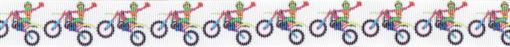 Als wiederkehrendes Motiv eine bunt gehaltene Abbildung eines winkenden Motocross-Fahres auf seinem Sportgerät.