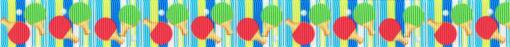 In grünblau gehaltenem, gestreiften Ripsbanduntergrund als wiederkehrendes Motiv ein Ping-Pong-Ball und zwei Ping-Pong-Schläger mit rotem bzw. grünem Belag.
