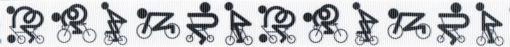 Von rechts nach links gezeichnete schwarze Radfahrer in verschiedenen Körperhaltungen - auf weißem Ripsbanduntergrund.
