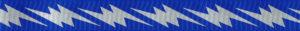 Silberfarbige Blitze auf blauem Ripsband-Untergrund.