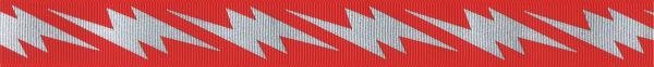 Silberfarbige Blitze auf rotem Ripsband-Untergrund.